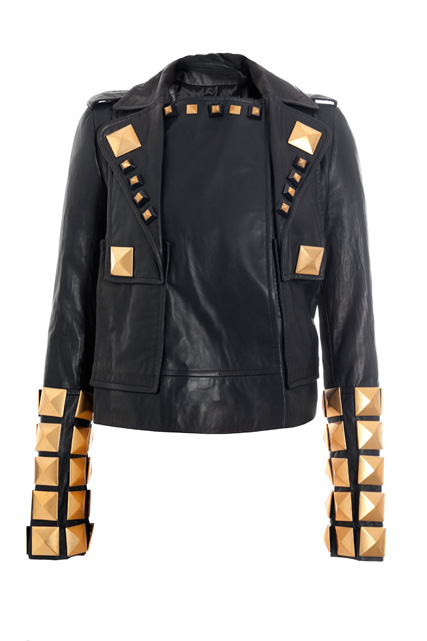 Black leather jacket with metal golden studs, front view (Fall/Winter 2007-2008)