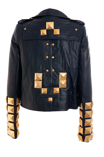 Black leather jacket with metal golden studs, back view (Fall/Winter 2007-2008)