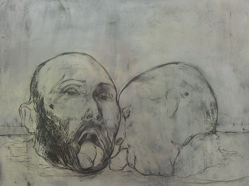 Das Leben der Anderen, 2013 Oil and pencil on paper 40,5 x 33 cm