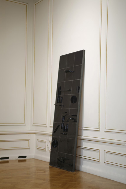 Almost every night two to five..., 2013, Handmade ceramic tiles, iron, wood, 267 x 103 cm