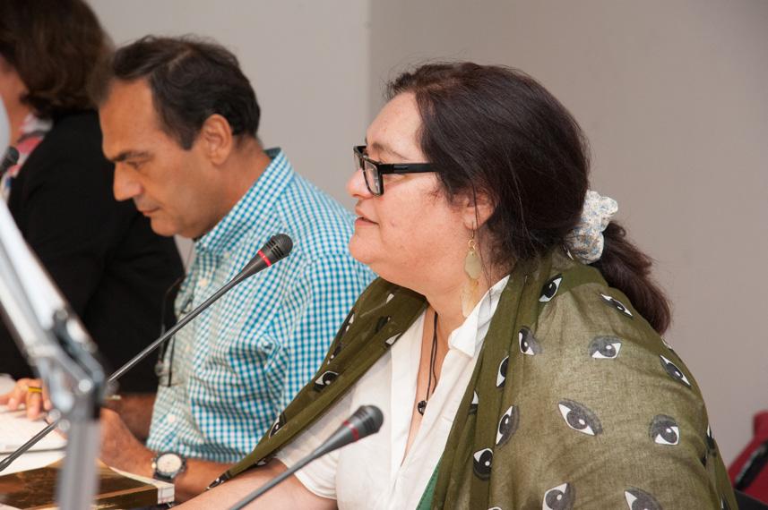Artist Maria Papadimitriou and panelist Nikos Bakounakis
